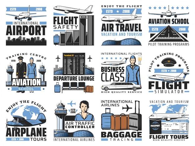 Luchthaven en luchtvaart, vliegtuigbemanning pictogrammen