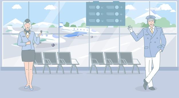 Luchthaven- en luchtvaartmedewerkers verwelkomen u om met het vliegtuig te reizen. vliegtuigarbeiders, stewardess en piloot staande op de luchthaven.