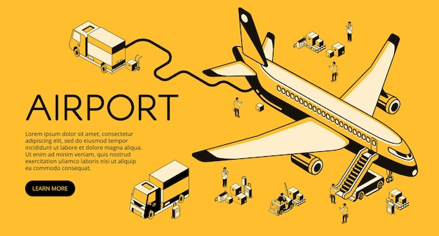Luchthaven en vliegtuigvoorbereiding vóór of na vluchtillustratie.