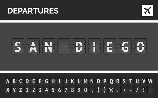 Luchthaven flip-lettertype en vliegtuigpictogram met vertrek naar san diego in de vs.