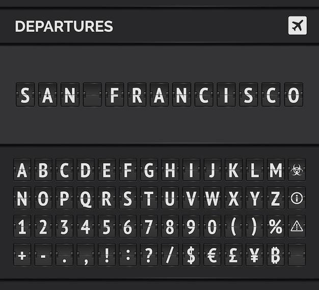 Luchthaven flip-lettertype en vliegtuigpictogram met vertrek naar san francisco in de vs.
