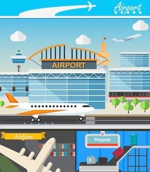 Luchthaven gebouw en reizen concept vectorillustratie in platte ontwerp. terminal-, start- en landingsstrips. bagagetransporteur en luchthaventoren.