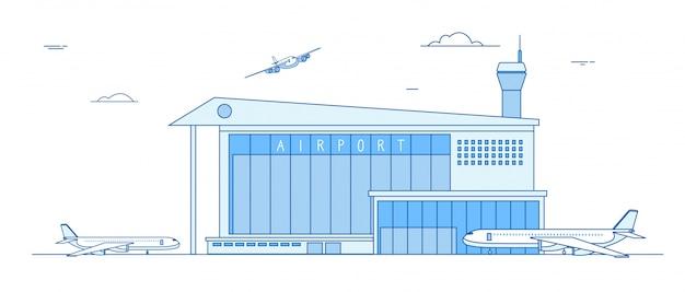 Luchthaven gebouwen. landende vliegtuigen internationale terminal de bouw van de de baan bedrijfsladingsvracht van vliegtuigenvliegtuigen