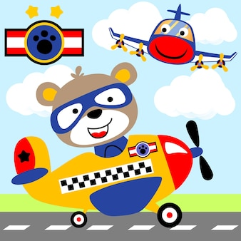 Luchthaven. grappige piloot op vliegtuig