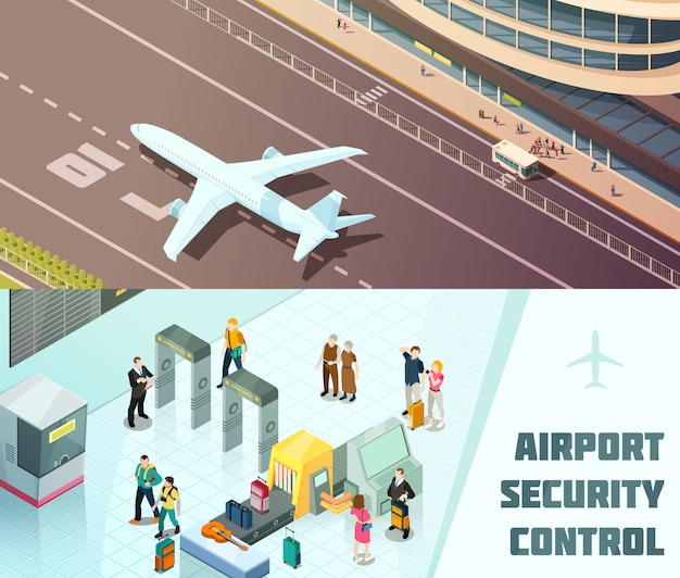Luchthaven horizontale isometrische banners