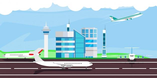 Luchthaven illustratie aankomst vertrek reis. terminal vliegtuig controle gebouw.