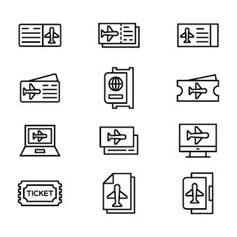 Luchthaven lijn icons set