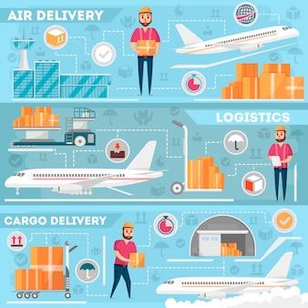 Luchthaven logistiek en levering management set
