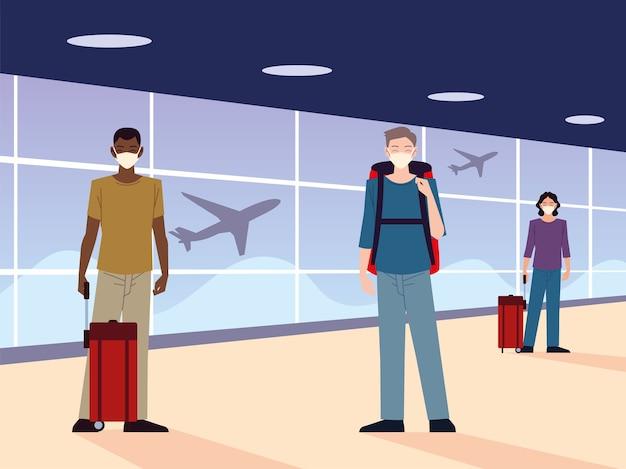 Luchthaven nieuw normaal, mensen met maskers en fysieke afstand