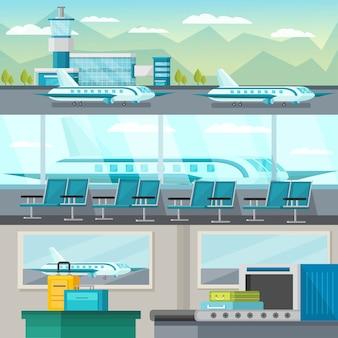 Luchthaven orthogonale illustratie set
