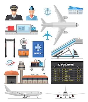 Luchthaven pictogrammenset met piloot, stewardess, vliegtuigen en uitrusting
