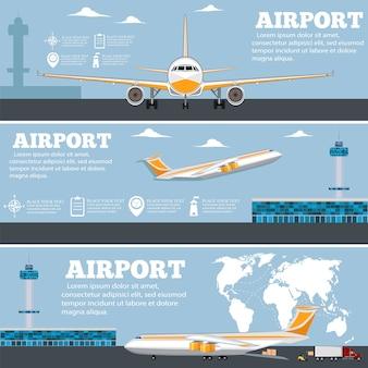 Luchthaven poster set met vliegtuig.