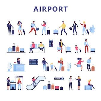 Luchthaven set. hand met paspoort en ticket