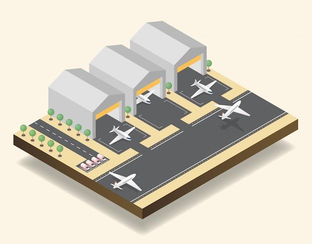 Luchthaven start-en landingsbaan, vliegveld isometrische vectorillustratie