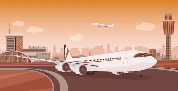 Luchthaven terminal gebouw met opstijgende vliegtuigen. monochroom mono kleur luchthavenlandschap.