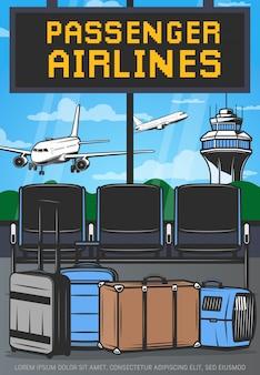 Luchthaven terminal lounge en vliegtuigen