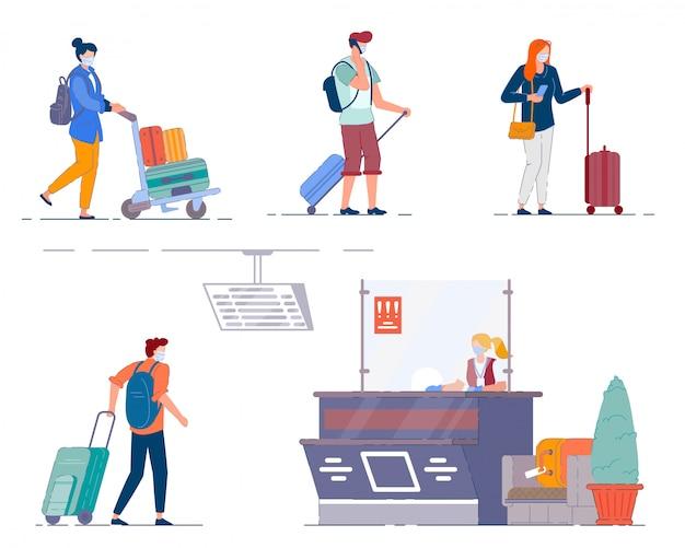 Luchthaven terminal mensen. mannen en vrouwen toeristen