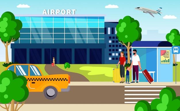 Luchthaven transfer, taxi en transport illustratie. familie passagier karakter met bagage in reis voor reizen, autorit.