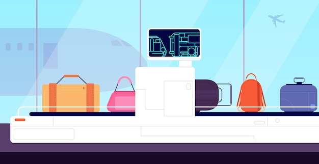 Luchthaven transportband. cargo scanner, x-ray scannen bagage tassen inspectie. terminal beveiliging, bagage controle controle vectorillustratie. luchthavenbagage, luchtvaart, röntgencontrole