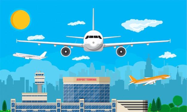 Luchthaven verkeerstoren, terminal gebouw