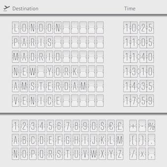 Luchthaven vertrek aankomst bestemming mechanische teller bord sjabloon illustratie
