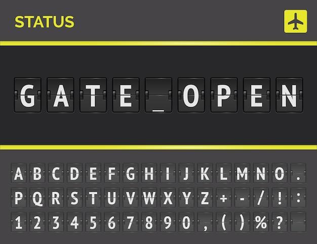 Luchthaven vluchtstatusbord met realistisch flip-lettertype voor vluchtstatus gate open