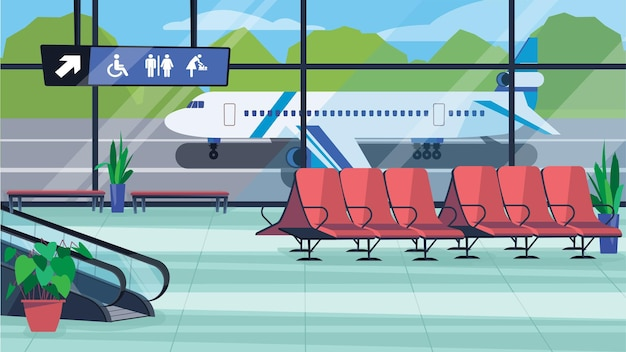 Luchthaven wachten hal interieurconcept in platte cartoon design. lobbykamer met zitje, trap voor boarding gate, raam en vliegtuig. luchtvaart vervoer. vector illustratie horizontale achtergrond