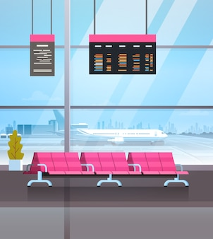 Luchthaven wachthal vertrek lounge terminal interieur check-in