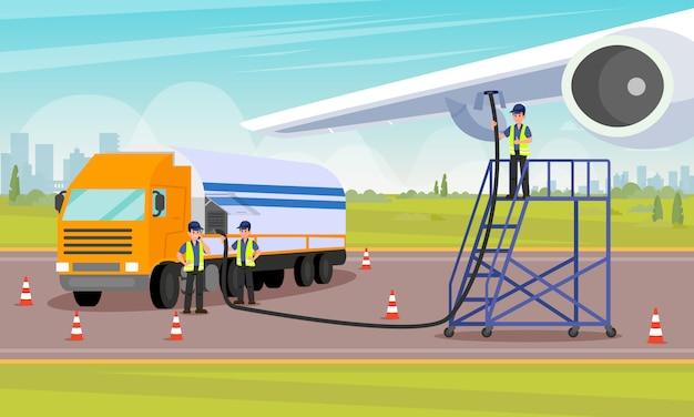 Luchthavenarbeiders schenken brandstof in tank voor vliegtuigen.