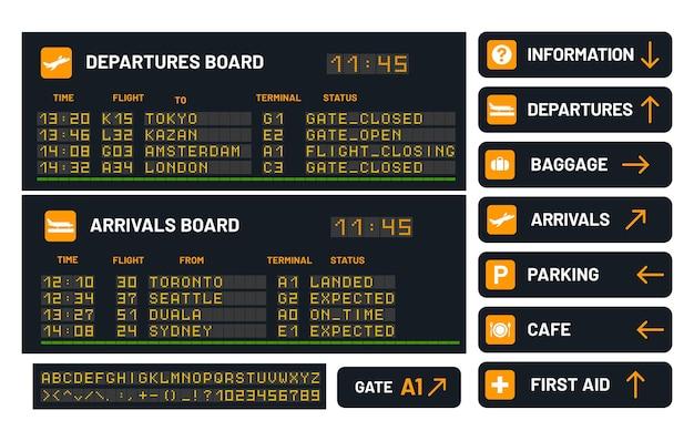 Luchthavenbord voor het aankondigen van vluchtillustratie