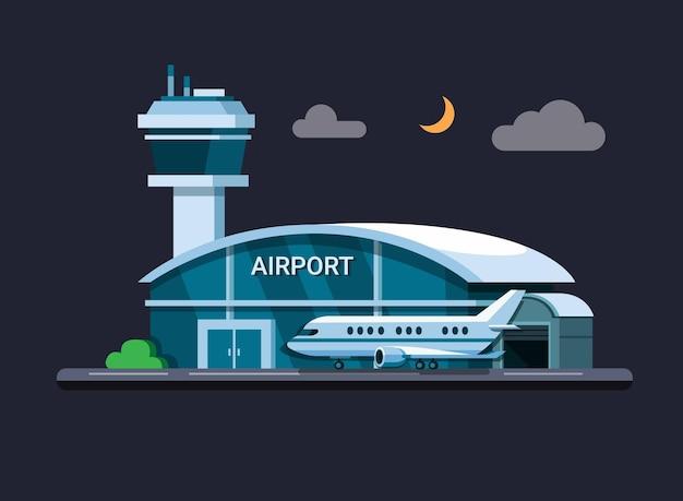 Luchthavengebouw 's nachts