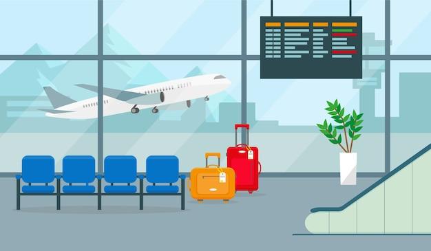 Luchthavenhal of wachtkamer met vertrek- of aankomstbord, stoelen, koffers en groot raamzicht.