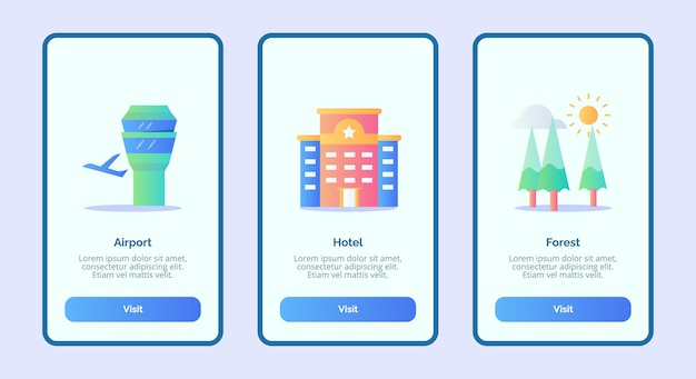 Luchthavenhotel bos of mobiele apps sjabloon banner pagina ui
