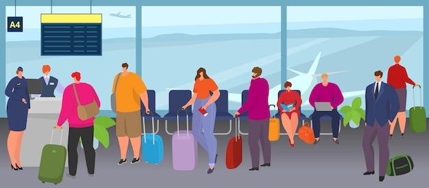 Luchthavenmensen staan in de rij met bagage, bagageillustratie. toeristengroep bij terminal wacht op vlucht, man vrouw karakter passagier in de rij. vakantiereizen met koffer, luchtvaartcheque.