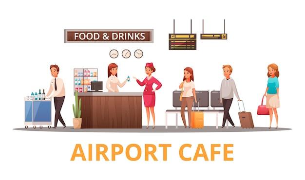 Luchthavenpersoneel en passagiers in café cartoon