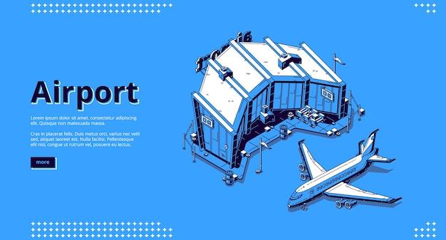 Luchthaventerminal en vliegtuig.