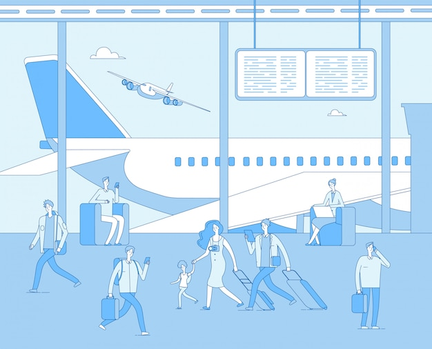 Luchthaventerminal. mensen binnen vliegveld luchthaven. man vrouwenpassagier in comfortzitkamers. scorebord van het vliegtuig. concept