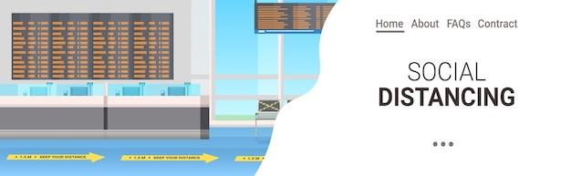 Luchthaventerminal met borden voor sociale afstand coronavirus epidemie bescherming maatregelen concept horizontale kopie ruimte