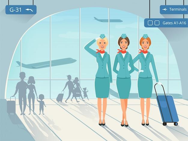 Luchthaventerminal met stewardess-personages
