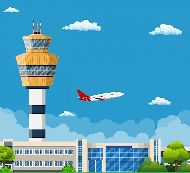 Luchthaventerminal met verkeerstoren
