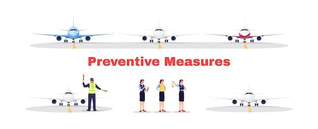 Luchthaventerminal platte vector illustraties set. preventieve maatregelen voor vliegtransport. veiligheidsregels voor vliegtuigen tijdens viruspandemie. vliegtuigpersoneel geïsoleerde stripfiguren kit