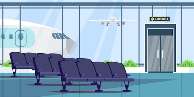 Luchthaventerminal wachtkamer illustratie, wachten hal interieur.