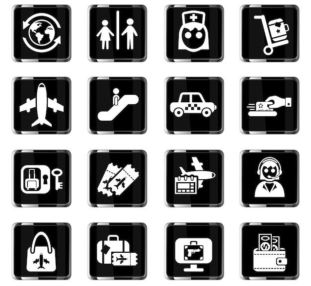 Luchthavenwebpictogrammen voor gebruikersinterfaceontwerp Premium Vector