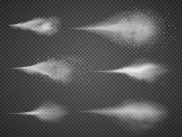 Luchtige waternevel mist vector set. sproeimondenmist op zwarte transparante achtergrond wordt geïsoleerd die