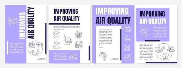 Luchtkwaliteit brochure sjabloon verbeteren. duurzame oplossingen. flyer, boekje, folder afdrukken, omslagontwerp met lineaire pictogrammen. vectorlay-outs voor presentatie, jaarverslagen, advertentiepagina's