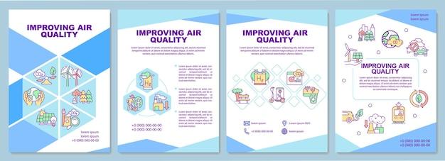 Luchtkwaliteit brochure sjabloon verbeteren. verminder de co2-uitstoot. flyer, boekje, folder afdrukken, omslagontwerp met lineaire pictogrammen. vectorlay-outs voor presentatie, jaarverslagen, advertentiepagina's