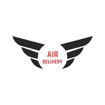 Luchtleveringslogo met zwarte vleugels. concept van koerier, verzending, e-mail, visuele identiteit, luchtvaartmaatschappij, e-commerce. geïsoleerd op een witte achtergrond. vlakke stijl trend moderne vleugel logo ontwerp vectorillustratie