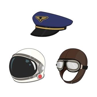 Luchtmacht hoedenset. pilotenpet en vintage hoed, astronaut ruimtepakhelm. illustratie.
