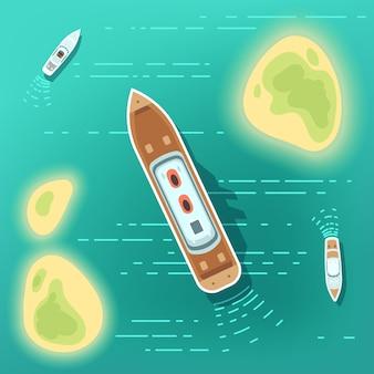 Luchtmening overzeese boten en schip. een deel van oceaan met tropocal eilanden en cruiseschepen