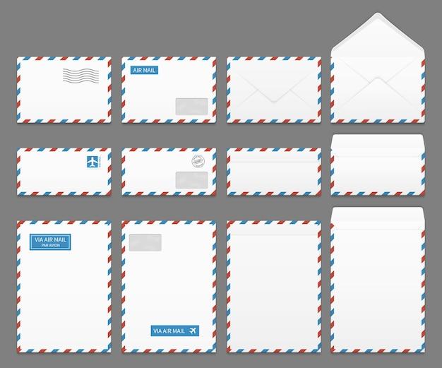 Luchtpost papier brief enveloppen vector set